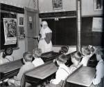 Daughter of Wisdom Sister, Teacher, Notre Dame du Mont Carmel School, Lille, Maine, early 1950's.